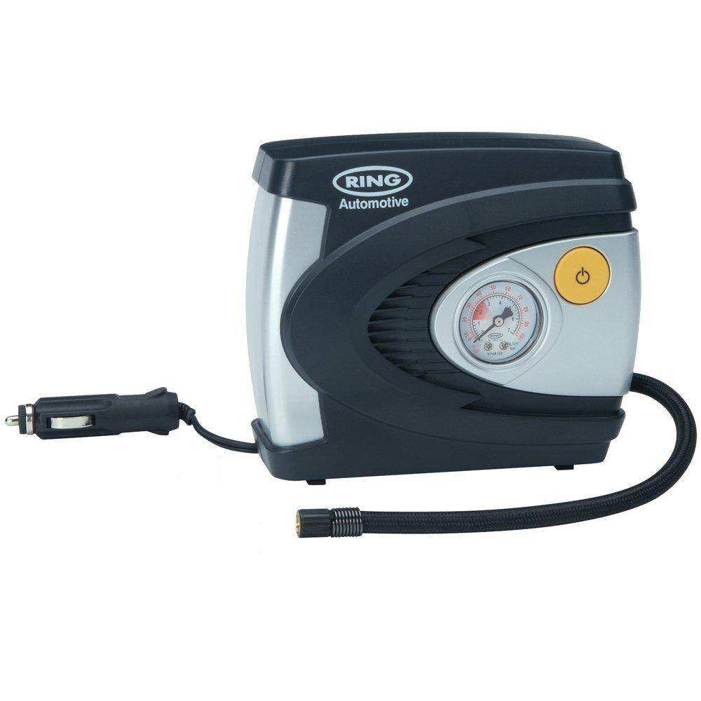 Ring RAC610 12V Analogue Tyre Inflator, Air Compressor Tyre Pump, 4.5 Min Tyre Inflation, Valve Adaptors