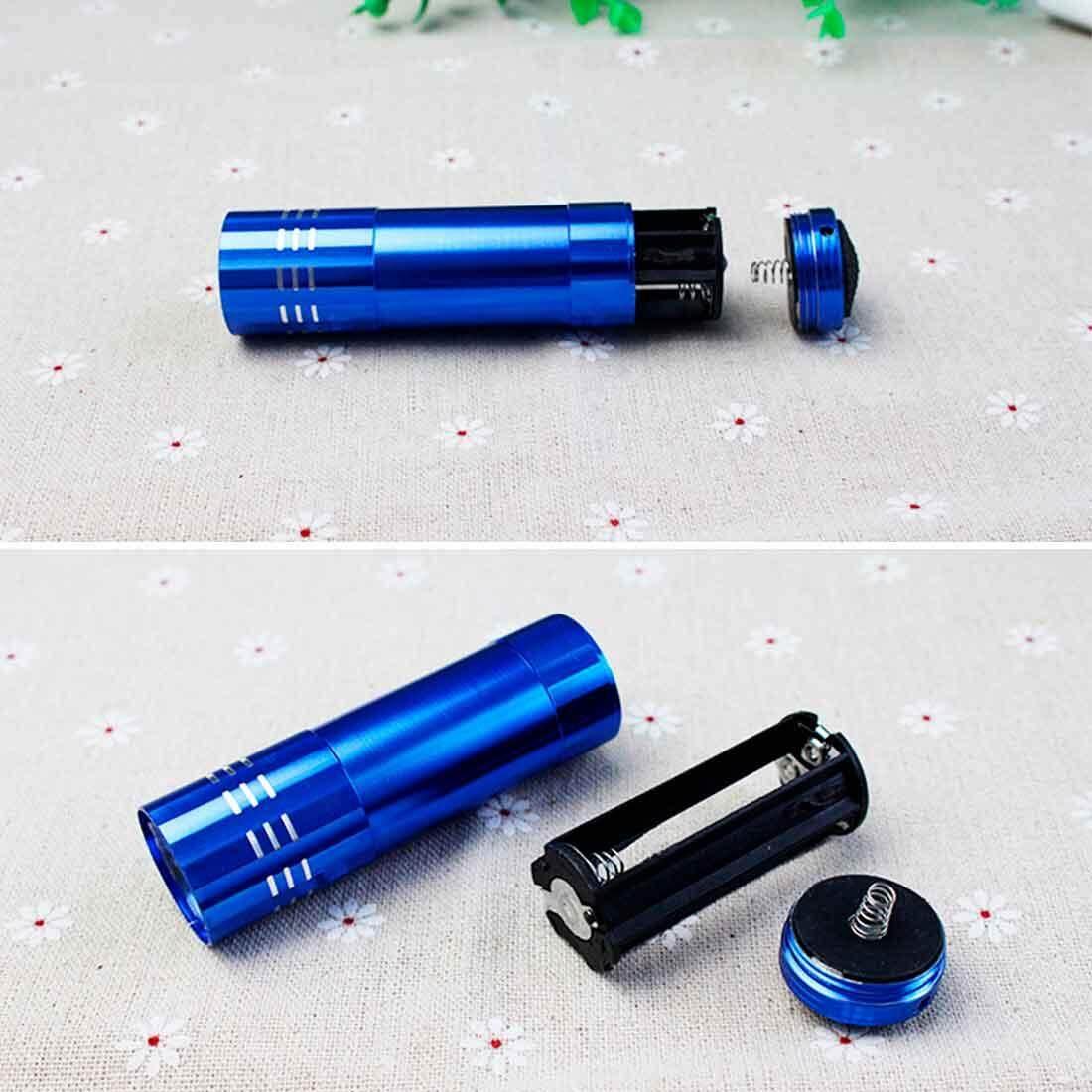 Aluminium Mini UV 9 Senter LED Cahaya Hitam AAA Obor Lampu Terang Hitam 82*24 ...