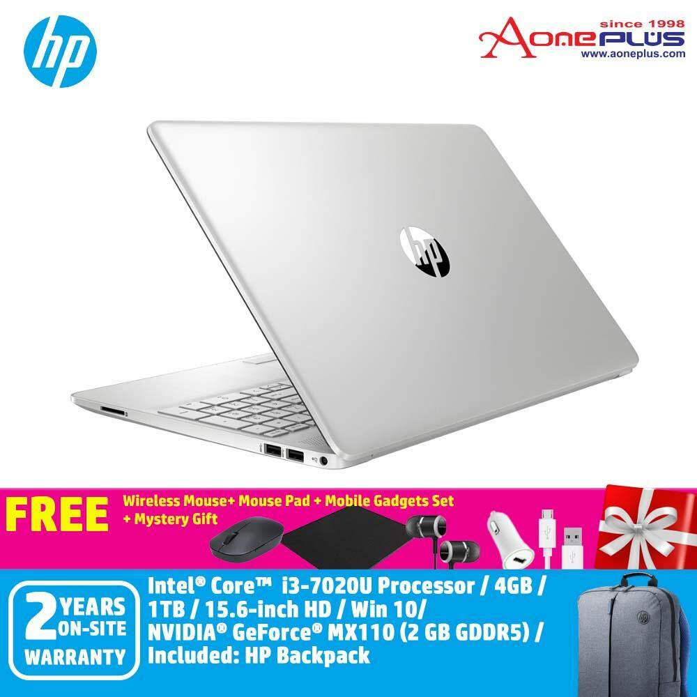 HP 15s-du0020TX  6UA03PA Notebook Natural Silver /i3-7020U/4GB/1TB/ MX110 2GB/15.6InchHD/Win10 + Free Wireless Mouse + Mouse Pad + Mobiles Gadget Set + Mystery Gift