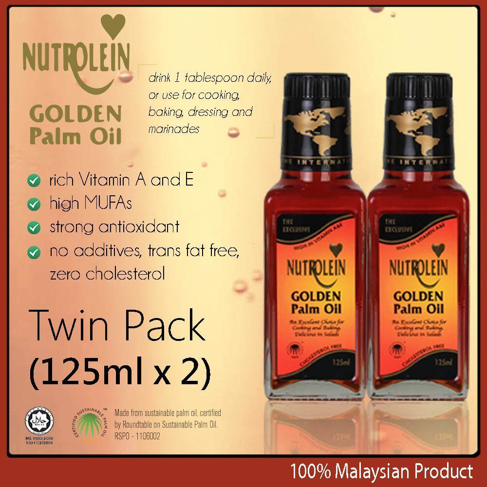 Nutrolein Golden Palm Oil 125ml x2 high Vitamin A & E cholesterol free cooking baking salad oil made in Malaysia
