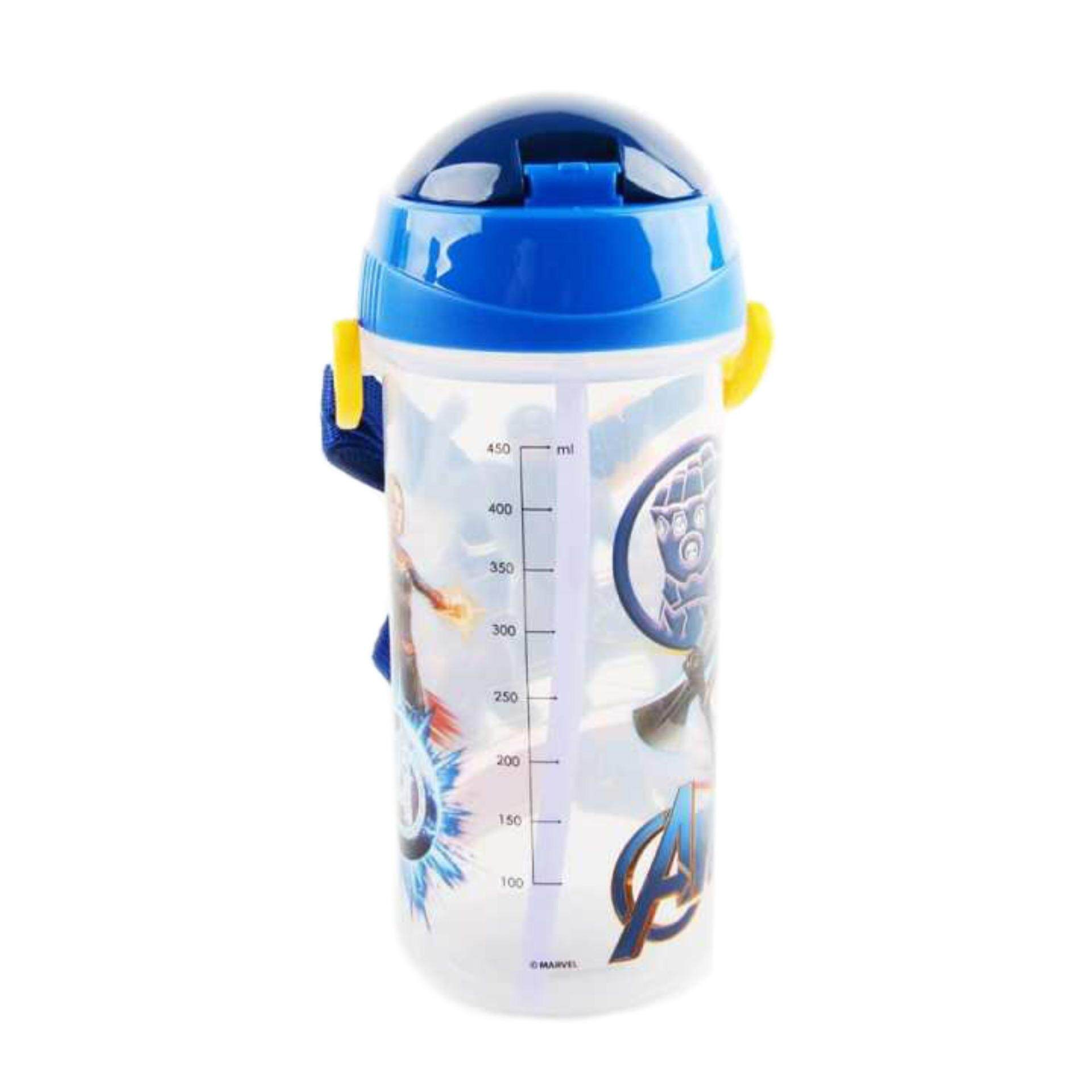 Marvel Avengers Endgame 550ML BPA Free Tritan Bottle With Straw - Blue Colour