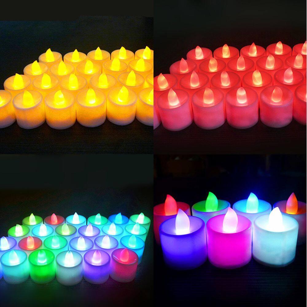 1 * Giả Trụ Cột Với Bir Nến Tealight Nhấp Nháy Đèn Màu Sắc Kỳ Nghỉ Đèn An Toàn Đề Xuất Trà Nến Giáng Sinh Đảng Bộ Đèn Led Điều Khiển đèn Led Nến Đèn Flameless