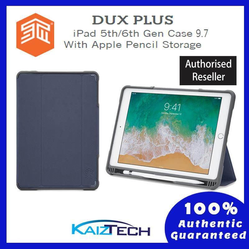 Original STM DUX PLUS iPad 5th/6th Gen Case With Apple Pencil Storage- Red, Black, Midnight Blue, stm-222-165JW