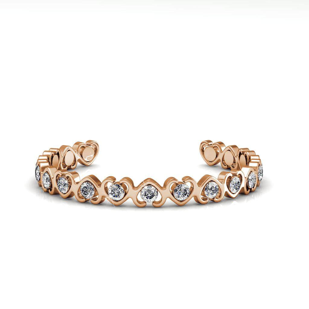 Her Jewellery Simply Love Bangle (White / Rose Gold) embellished with Crystals from Swarovski