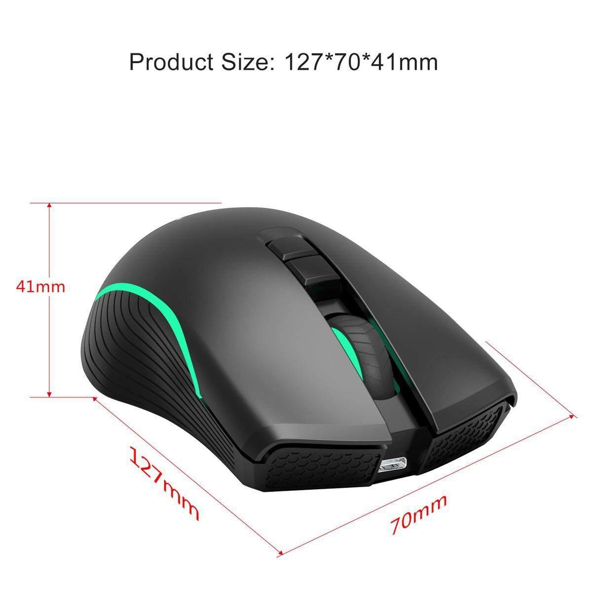 Aolvo 2.4 GHz USB Pengisian Nirkabel Optik Mouse Gaming Tikus 2400DP untuk Desktop Laptop PC Colorful ...