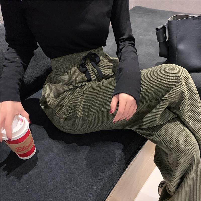 Gadis Republik Harga Lebar Kaki Celana Versi Korea Korduroi Peramping Pinggang Tinggi Celana Kasual - 2