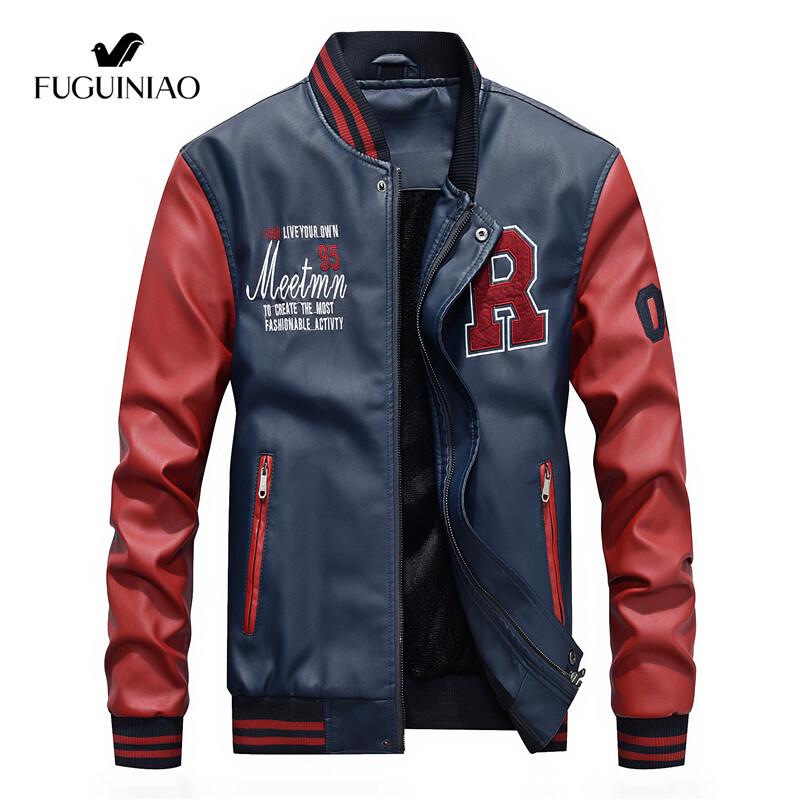 Fuguiniaoเสื้อแจ็คเก็ตหนังผู้ชาย,แจ็คเก็ตขี่มอเตอร์ไซค์แฟชั่นสีดำหนังPuดีไซน์เบสบอลแจ็คเก็ตขี่มอเตอร์ไซค์แบบบาง
