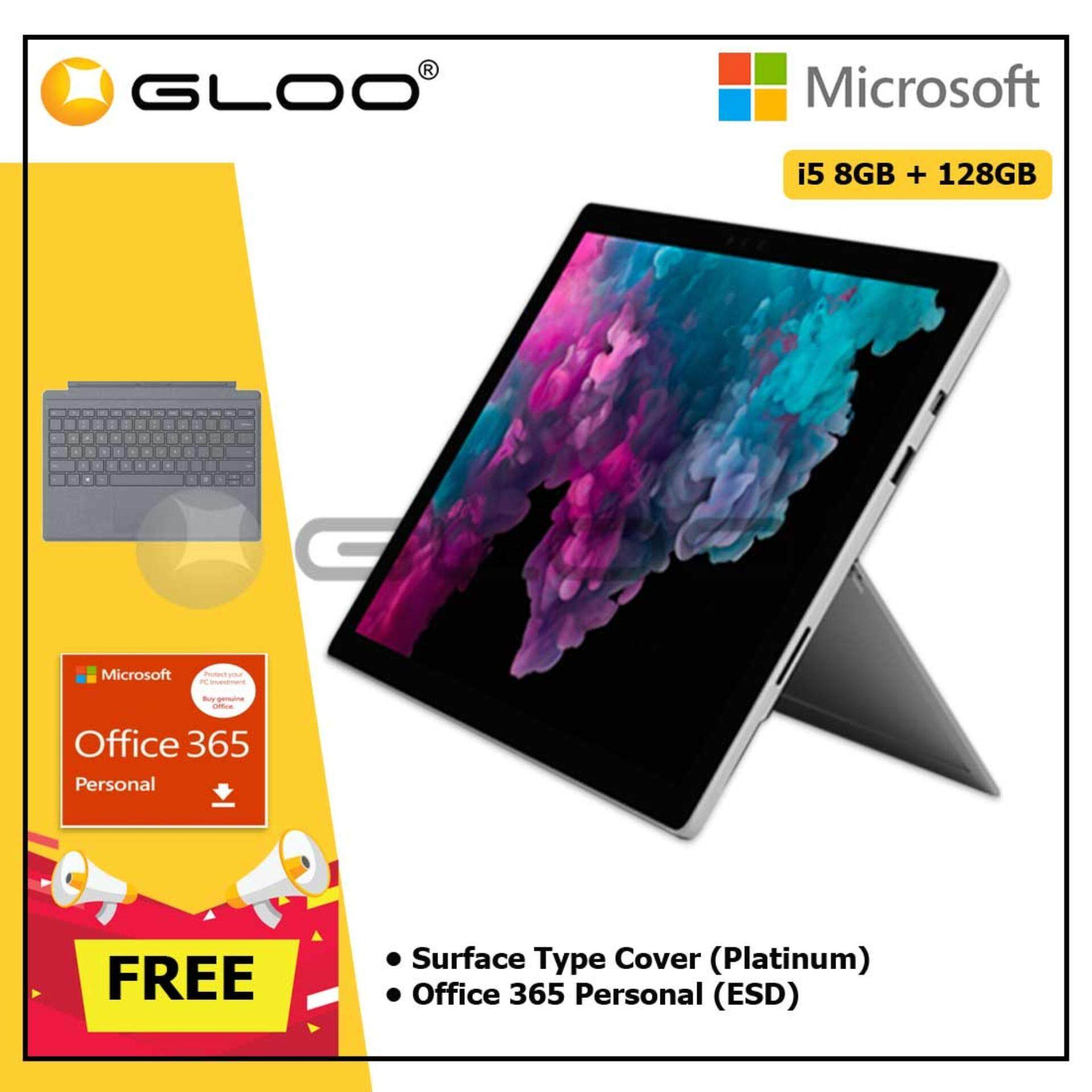 Microsoft Surface Pro 6 Core i5/8GB RAM -128GB + Type Cover Platinum + Office 365 Personal (ESD)