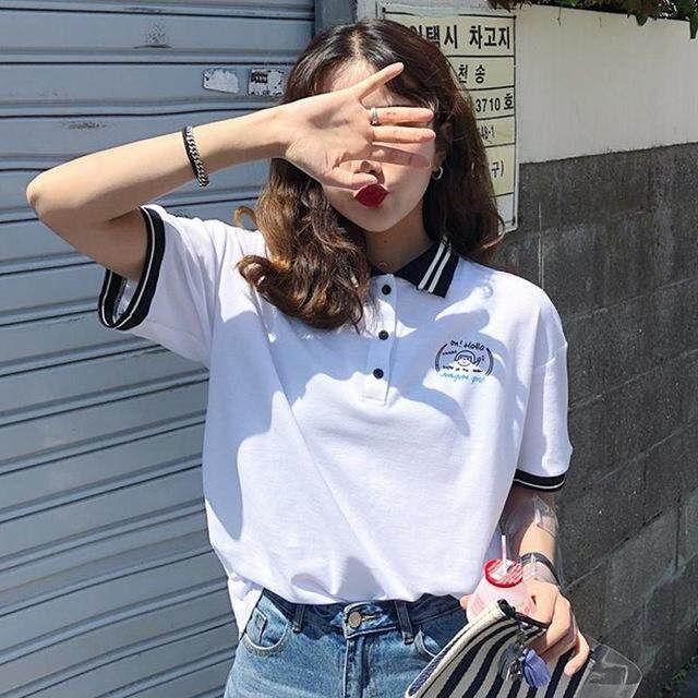 YAUAMDB women polo shirts summer S 2XL female tops letter tees clothing striped short sleeve loose fashion ladies clothes ly19