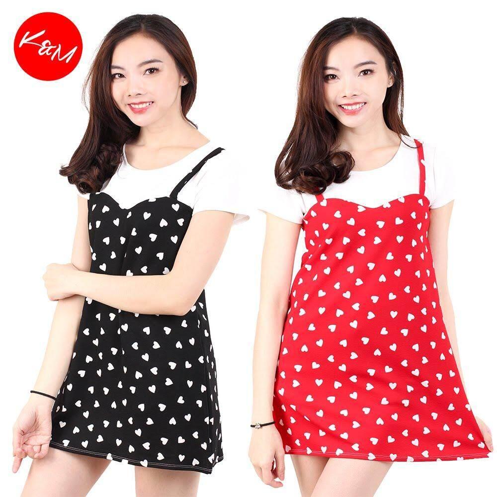 KM Ladies Short Sleeves Fully Printed Mini Dress [M688]