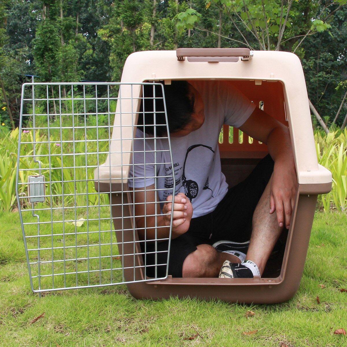 Harga Diskon Hewan Peliharaan Anjing Kucing Kandang Kucing Keluar Portable Case Kebesaran Golden Retriever Anjing Kotak Centang Transportasi Batang Tarik Kotak Hari Ini