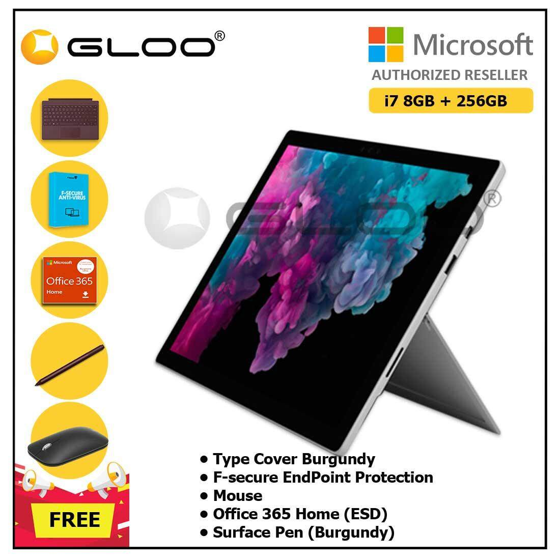 Microsoft Surface Pro 6 Core i7/8GB RAM - 256GB + Type Cover Burgundy + F-Secure End Point Protection + Office 365 Home (ESD) + Pen Burgundy + Mouse