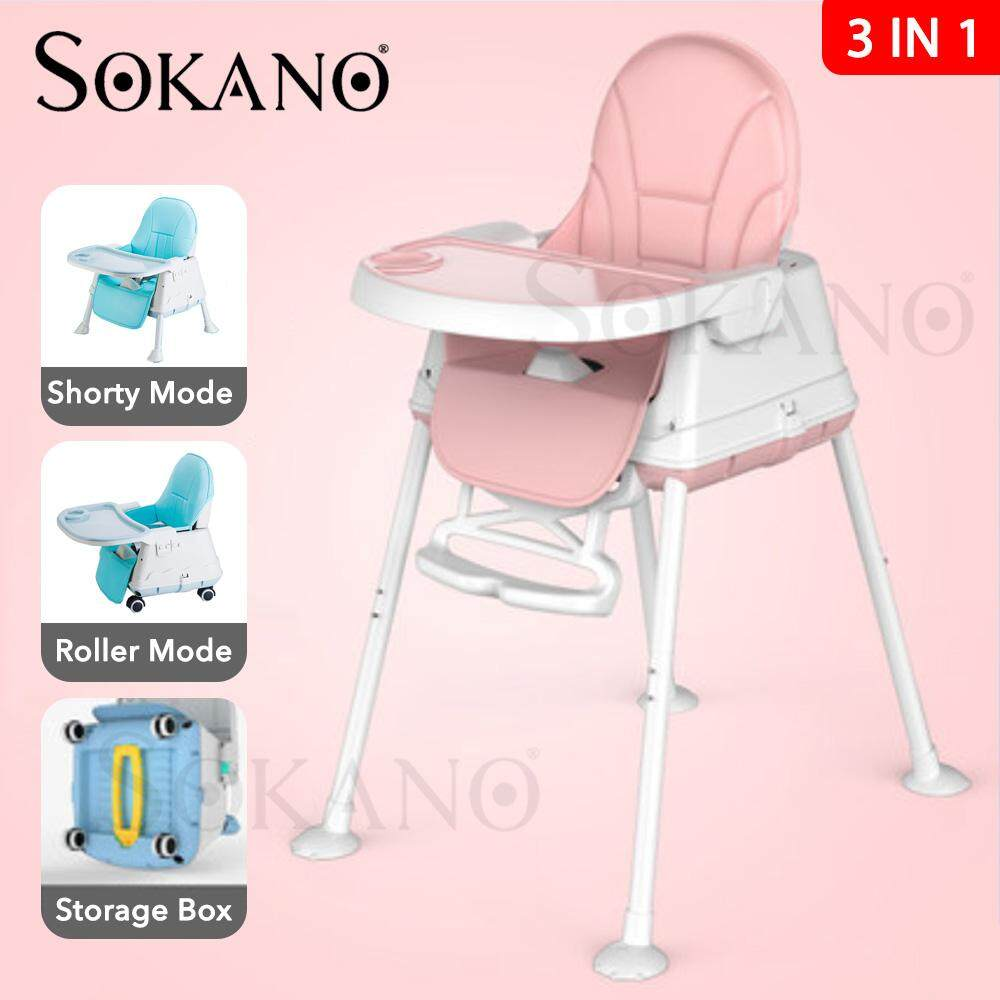 SOKANO 3 in 1 Multipurpose Portable Dining Adjustable Baby Chair High Chair Baby Booster Seat