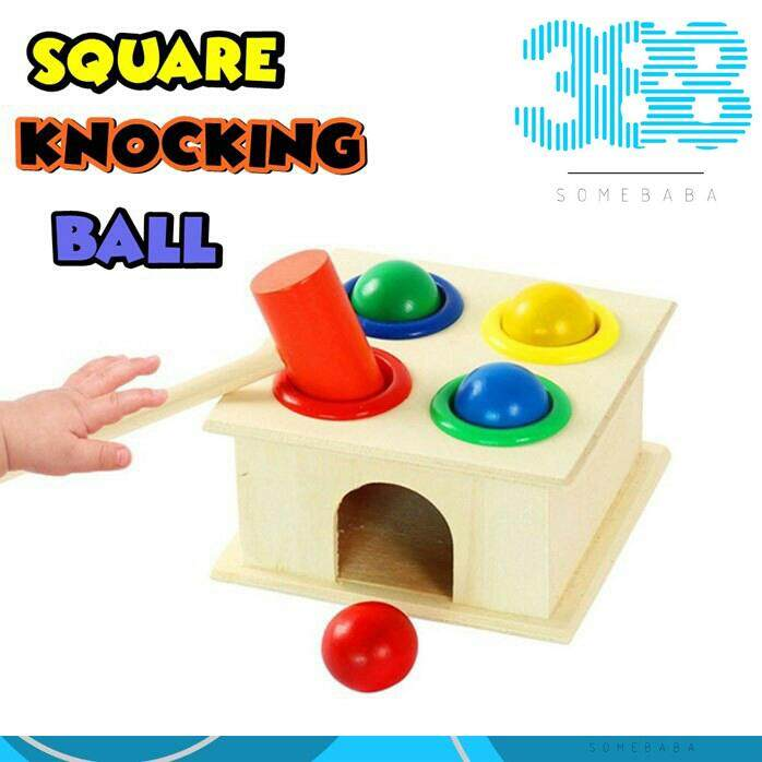 Square Knocking Ball - Wooden Toys Color Ball Striking Table Four Layer Knock Table Baby Hand Game Toys Child Early Education Toys四方敲球台