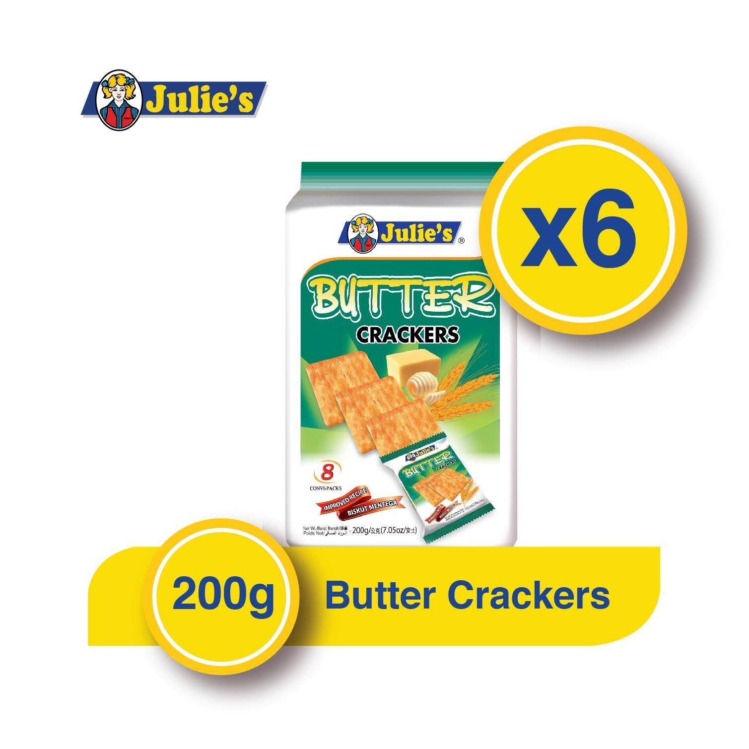Julie's Butter Crackers 200g x 6 Packs + Free 5 pack Convi pack Biscuit