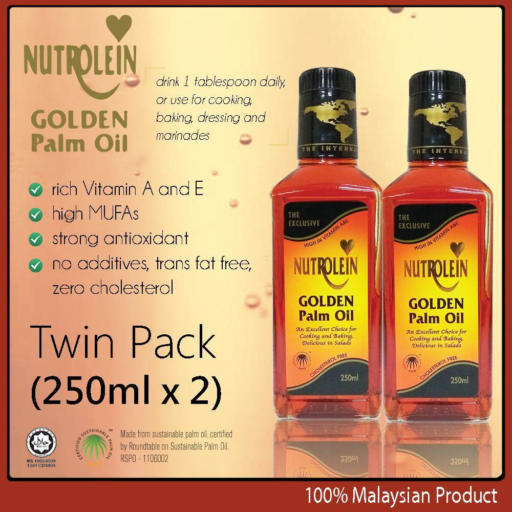 Nutrolein Golden Palm Oil 250ml x2 high Vitamin A & E cholesterol free cooking baking salad oil made in Malaysia