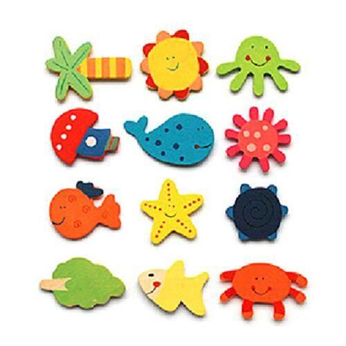 12Pcs//Set Baby Cute Fridge Magnet Wooden Cartoon Animal Child Educational Toys