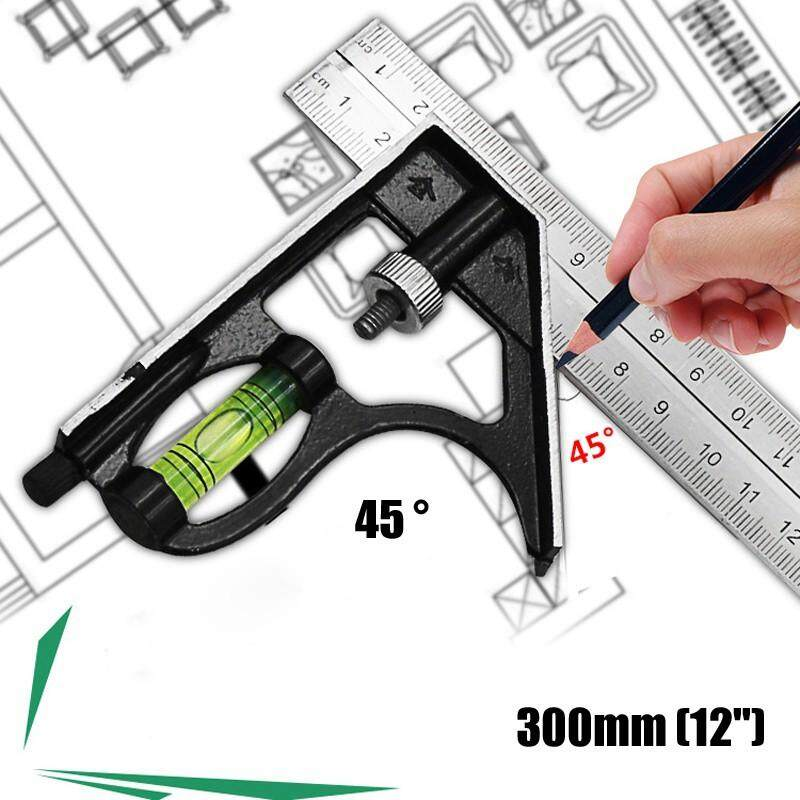 DIY Tools - 300mm/12'' Engineer Combination Try Square Set Right Angle Ruler Measuring Tool