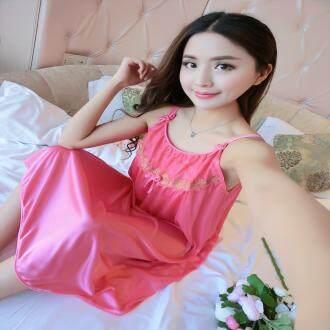 【LIMITED & READY 4 YOU】Generous Women Sexy Sleeveless Long Dress Pyjamas With Premium Grade Quality Silk (Neutral Red/Blush Pink/Dark Blue/Pink - Free Size)