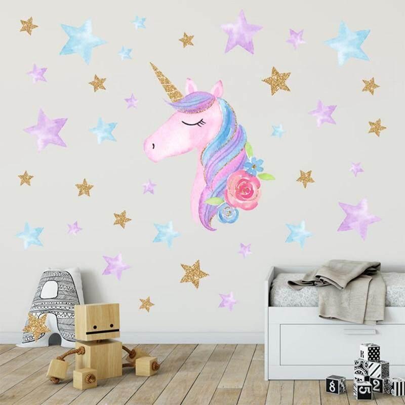 Review Meiyang Kartun Lucu Unicorn Bintang Stiker Dinding Bentuk