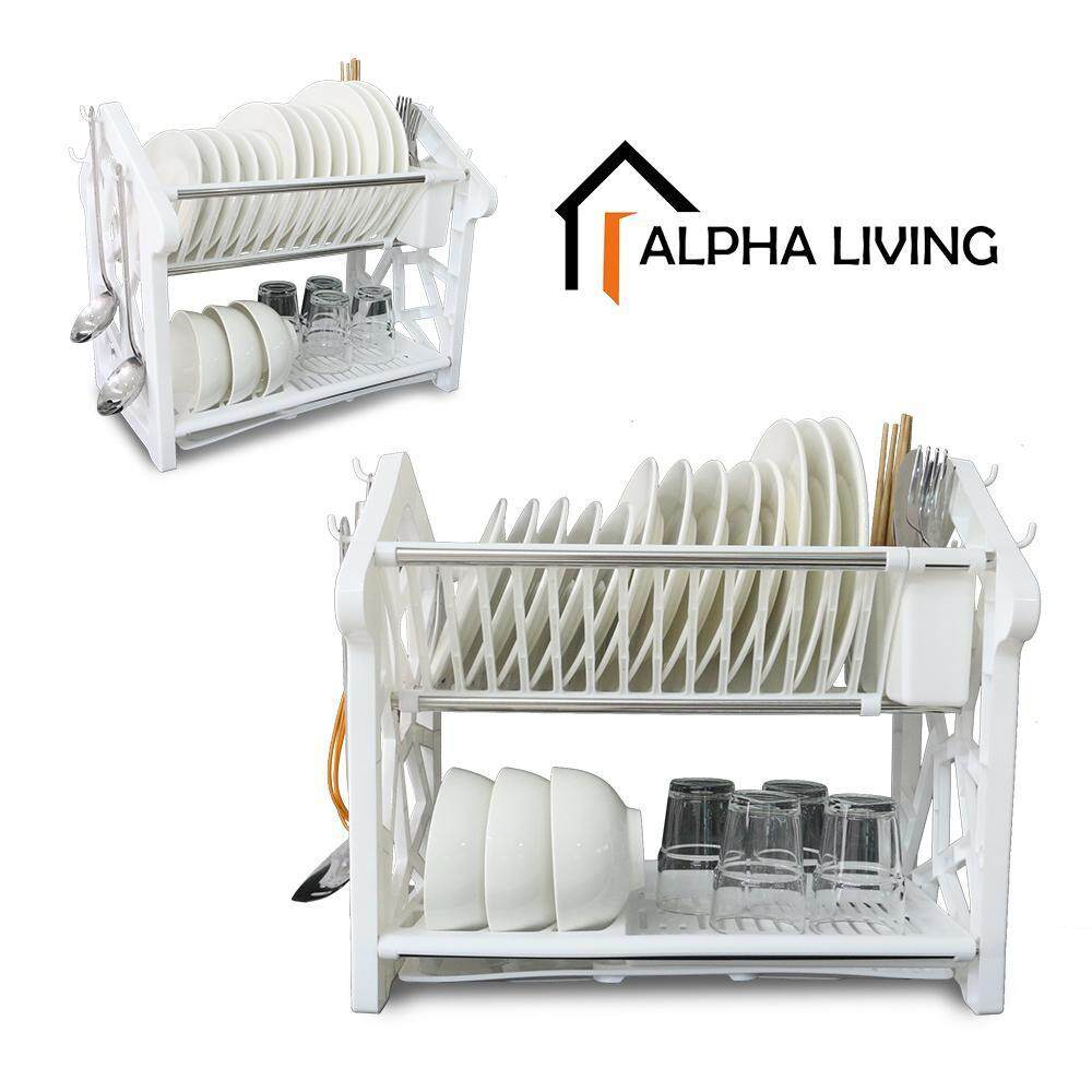 Alpha Living KTN0123WH Double Layer Dish Drainer Rack with Utensil Holder Dishrack (Size: 40.5 x 31 x 36.5 cm)