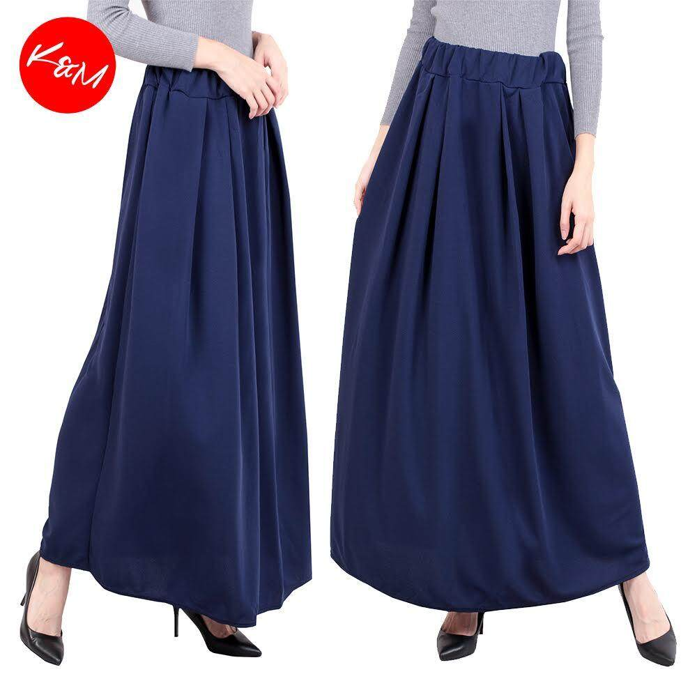 KM A Line Pleated Payung Maxi Skirt [M13950]