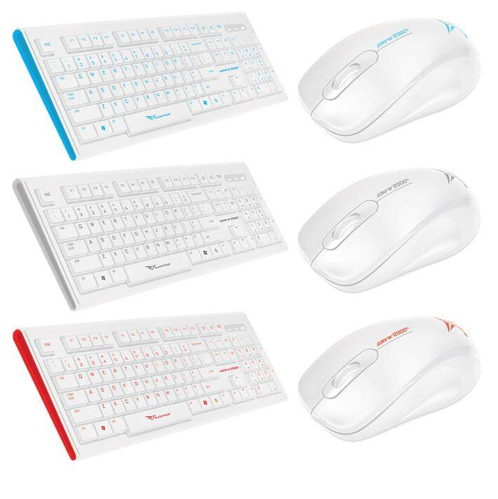 Alcatroz Xplorer 2000SL Wired USB Slim Profile Keyboard 1000CPI Optical Mouse Combo Set (White Red/Blue/Grey 2000 SL Version)