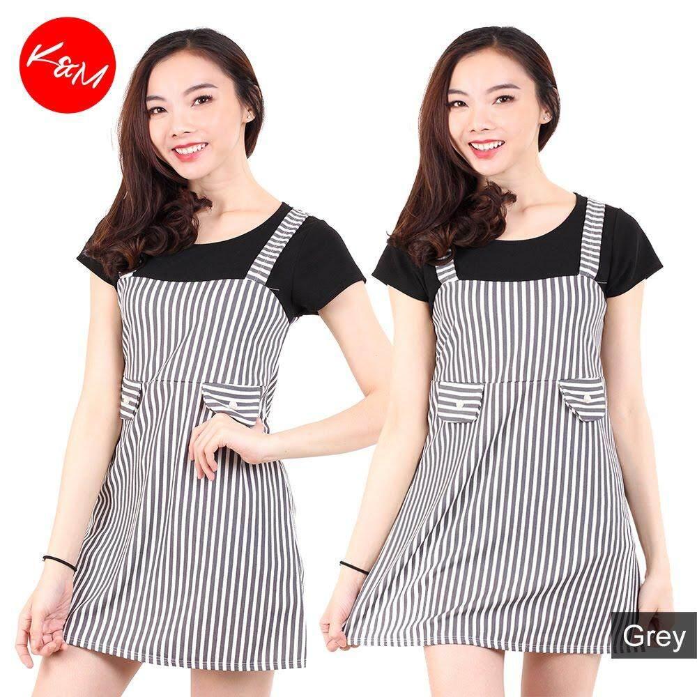 KM Ladies Short Sleeves Striped Mini Dress [M687]