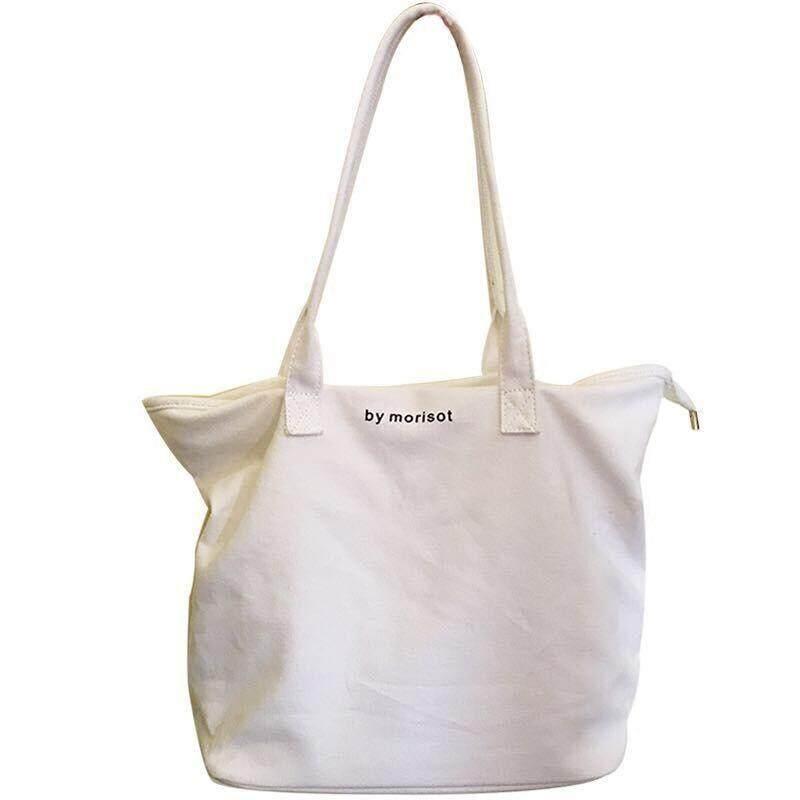 กระเป๋าถือ นักเรียน ผู้หญิง วัยรุ่น สิงห์บุรี IELGY สีขาวขนาดใหญ่กระเป๋าถือผ้าใบไหล่วรรณกรรมกระเป๋าทรงสี่เหลี่ยมมีหูหิ้วสะพายไหล่
