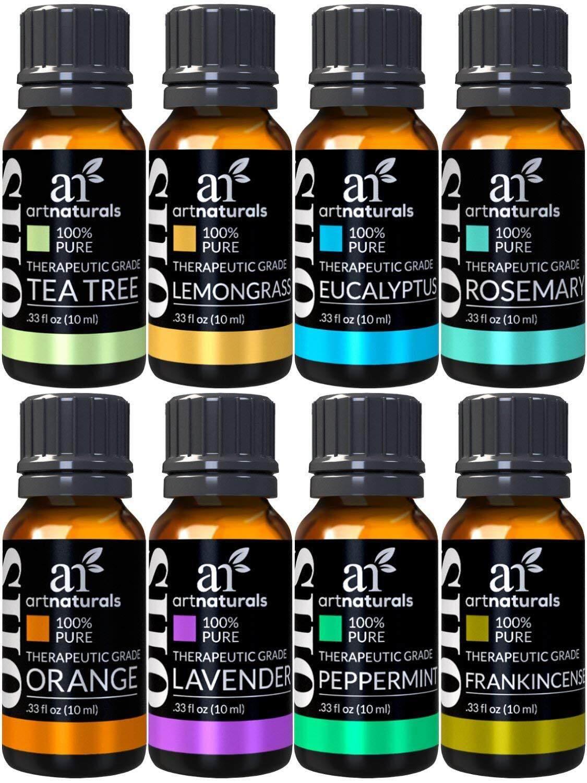 [ iiMONO ] ArtNaturals Therapeutic-Grade Aromatherapy Essential Oil Set – (8 x 10ml) - 100% Pure of the Highest Quality Oils – Peppermint, Tea Tree, Lavender, Eucalyptus