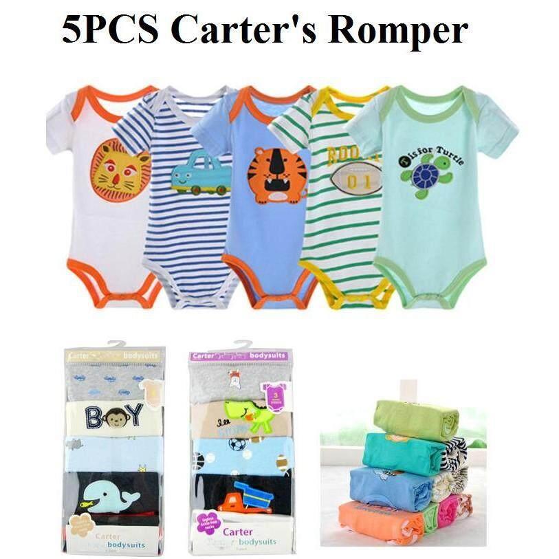 5 Pieces Set Baby Boy Carter's Cotton Romper Full Moon Christmas Gift Random Design ( Boy )