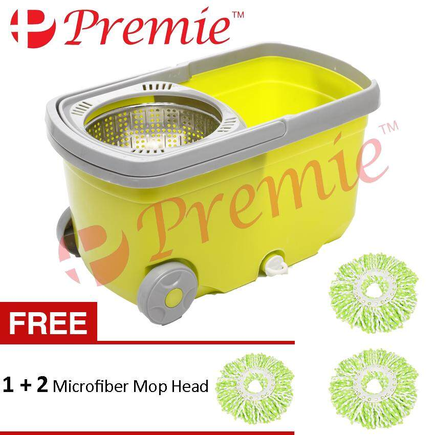 [HOT SELLING] PREMIE Stainless Steel Easy Magic Spin Mop With Wheel Press  Handle Rotation Dryer Cleaner Bucket