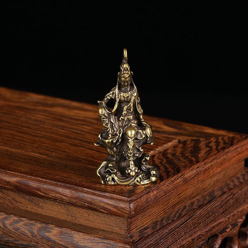 Hình ảnh Tượng Phật Quan Âm Cổ Đại Bằng Đồng Nguyên Chất, Tượng Điêu Khắc Nhỏ Bằng Đồng, Bỏ Túi Bằng Đồng, Mang Theo Bên Mình