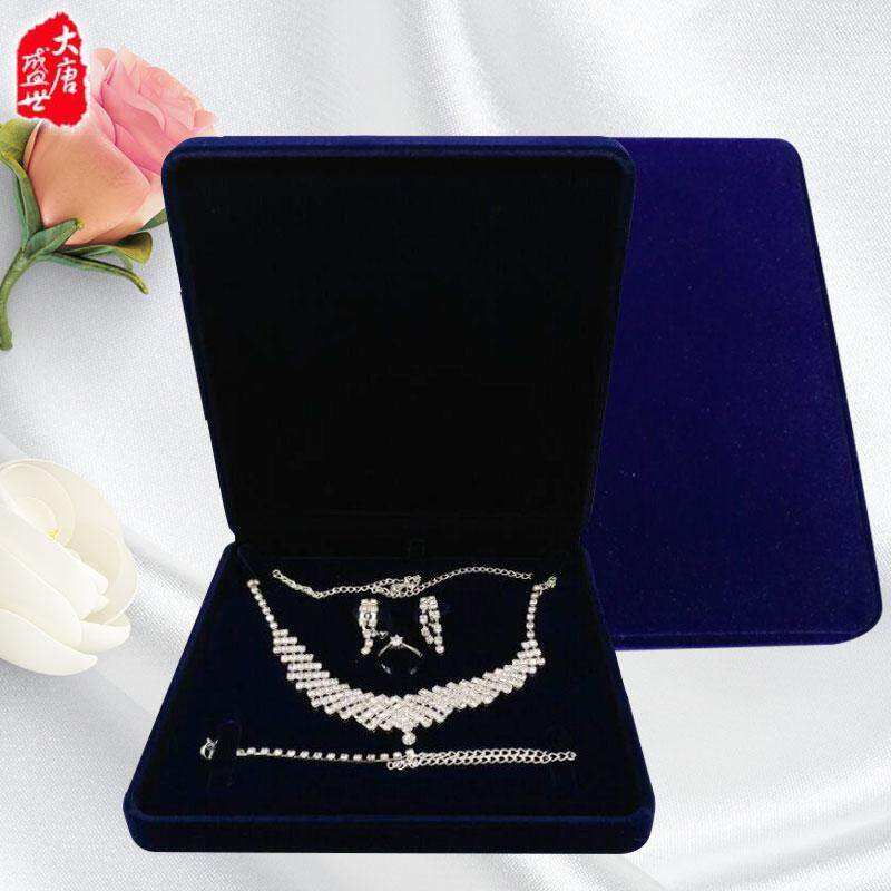 Kain Beludru Set kotak perhiasan Ekstra Besar perhiasan ornamen kotak kemasan Cincin Anting .