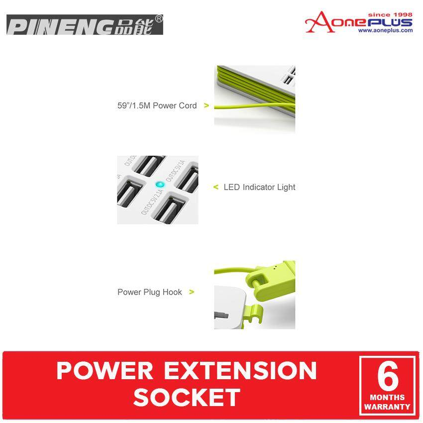 (Genuine) Pineng PN-333 Power Extension Socket with 5-port USB 5.1A