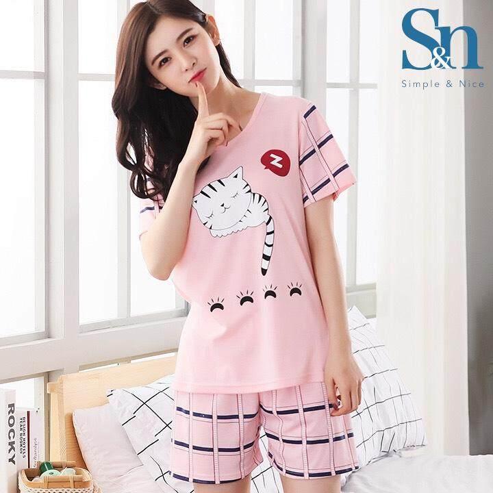 【SIMPLE & NICE】New Fashion Cute Cartoon Design Women 2pcs Pyjamas With Pants Premium Quality (Pink Cat/ Dark Blue Bear/Pink Grey Cat - Size: M-XXL)