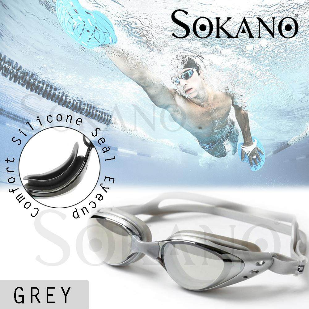 (RAYA 2019) SOKANO SY6100 Swim Goggles Swimming Anti Fog UV Protection Waterproof Diving Glasses with Case Gogal Renang (Free Ear Plugs)