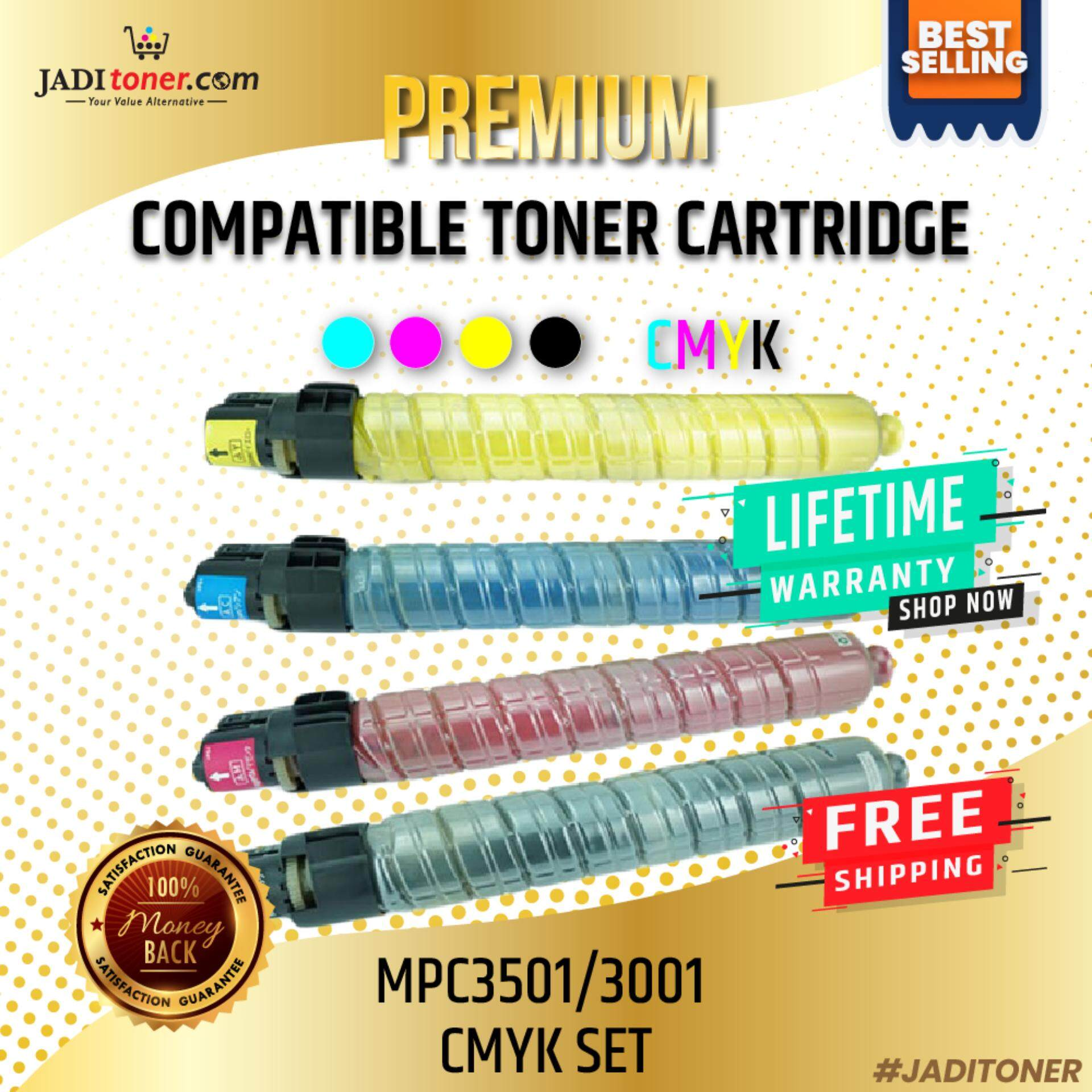 Compatible Ricoh Toner Cartridge CMYK Set (Cyan, Magenta, Yellow & Black) For Use in Ricoh MPC3501 / MPC3001 / Ricoh Aficio MP C3501 / Ricoh Aficio MP C3001