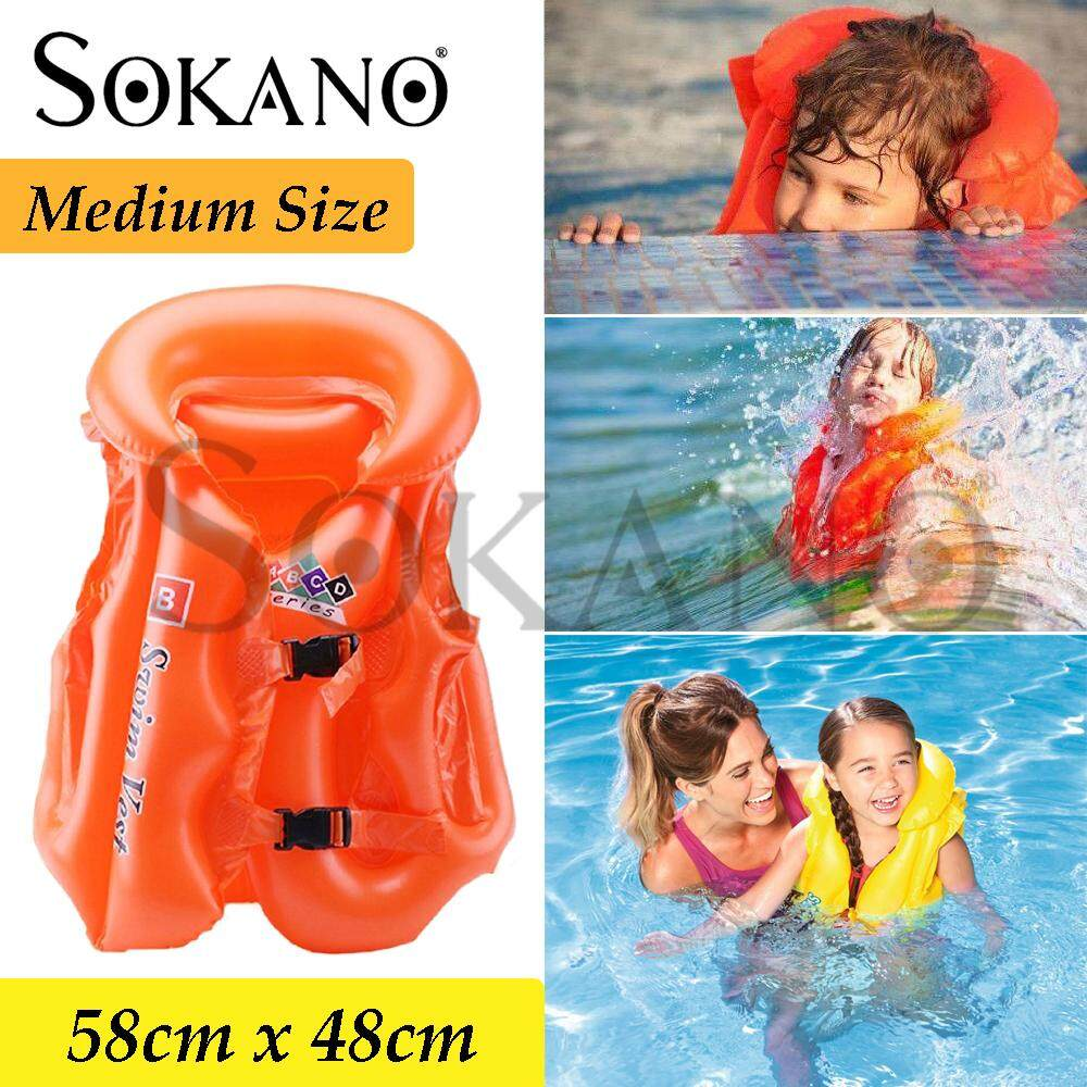 SOKANO Baby Kids Adjustable Safety Life Vest Anti-Drowing Inflatable Floatation Life Jacket Swimming Aid For Holiday Beach Pool