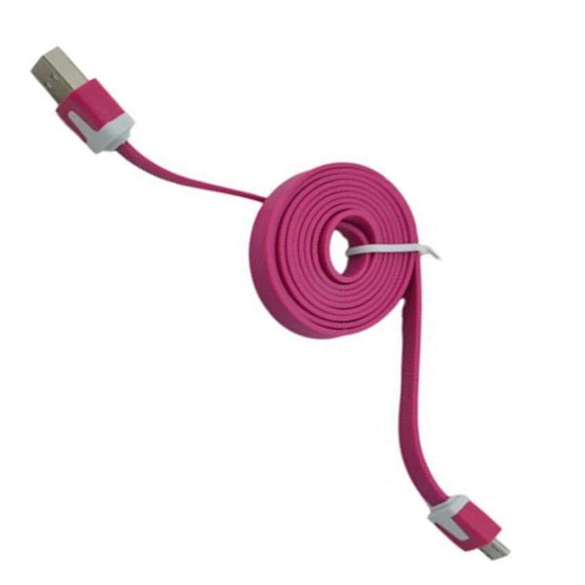 1 meter Flat Micro USB Cable  (Dark Pink)