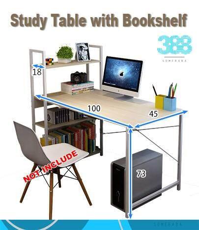 【READY STOCK】Study Table with Bookshelf
