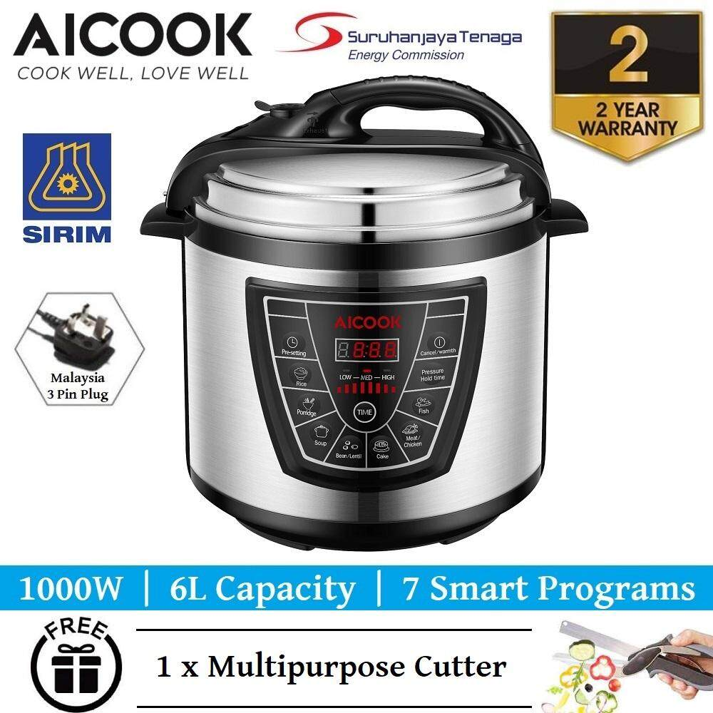 Aicook 7 in 1 Programmable Pressure Cooker With Non Stick Inner Pot 6.0L 1000W Rice Cooker Multi Cooker FREE 1 x Multipurpose Cutter