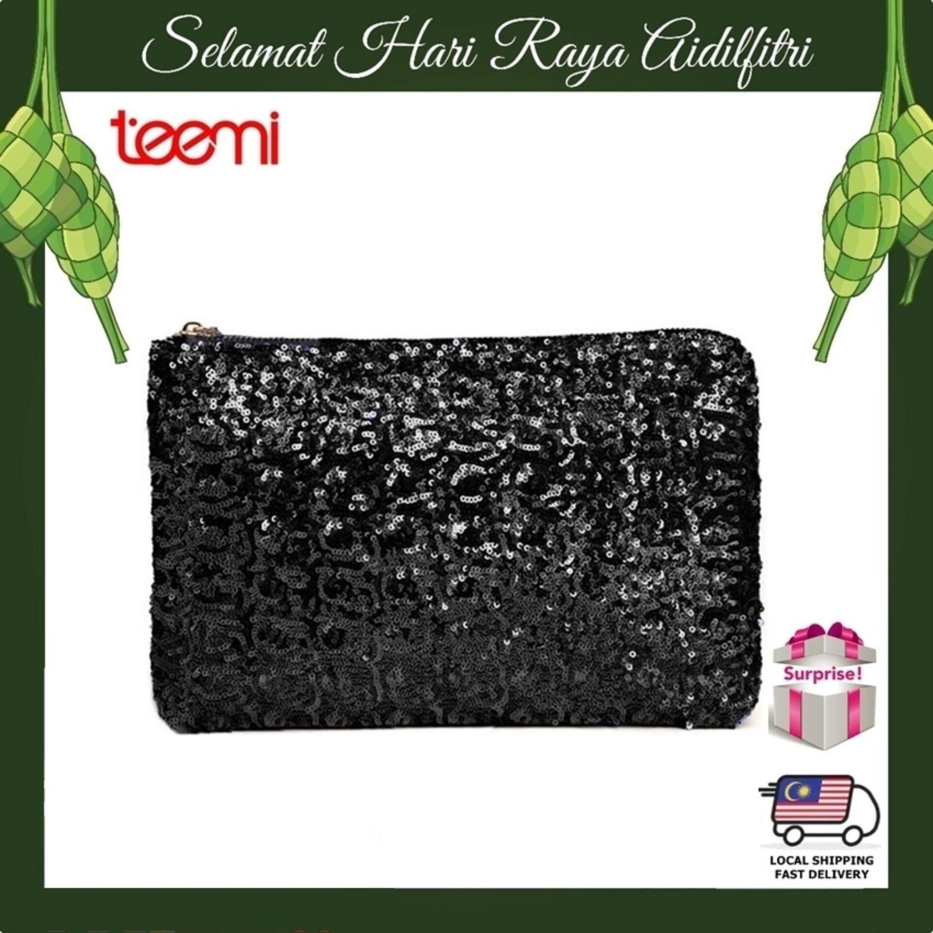 TEEMI Sequins Metallic Glitter Clutch Evening Dinner Purse Women HandBag Dazzling Sparkling Party Bag - Black