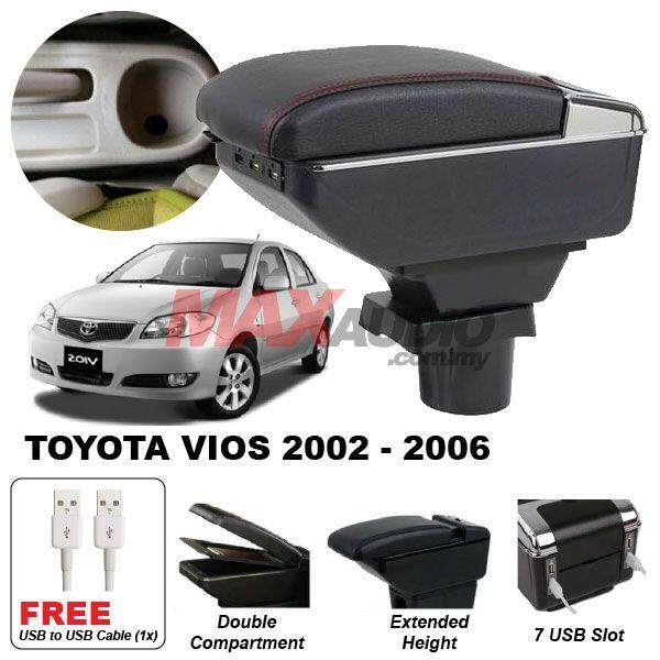 [FREE GIFT] TOYOTA VIOS 2002 - 2006 Premium Quality Adjustable Black Leather With Red Stitch Arm Rest with USB Charger Extension & Cup Holder