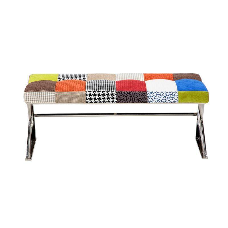Designer Series 0111A Patchwork Fabric Bench with Stainless Steel Frame (Design A)