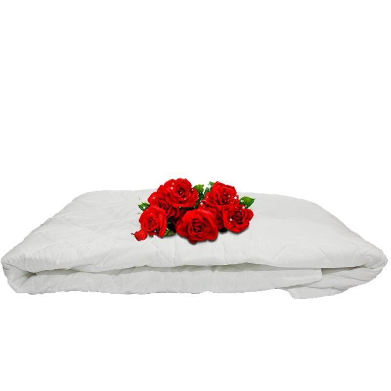 "Linen Series, Polyester Filled 125gm White Mattress Pad - Super Single 42""x 75"""