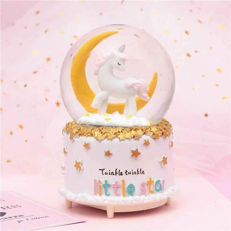[KL Ready Stock] Unicorn Crystal Ball Snowflake Music Box Gift