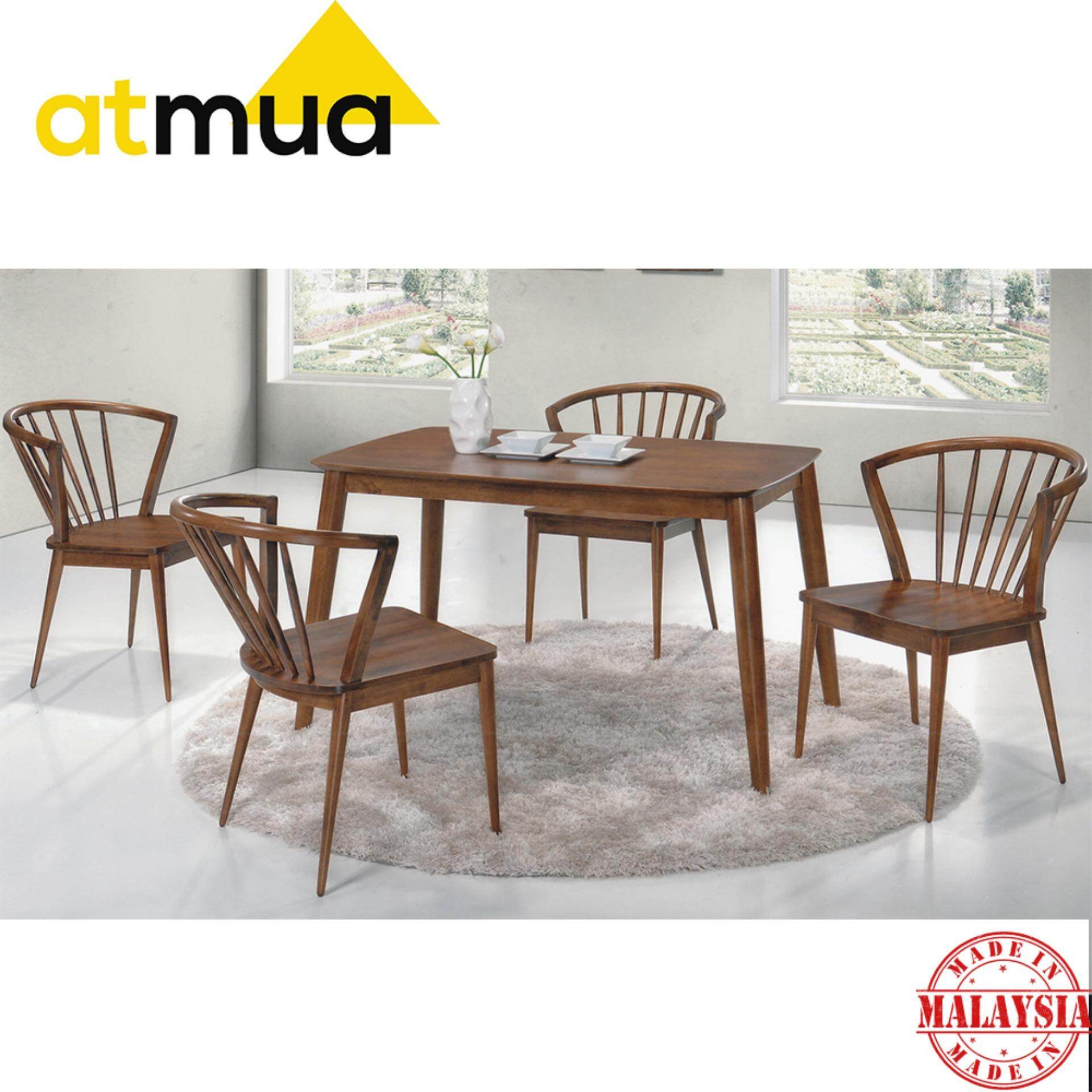 Atmua Blush Dining Set (1 Table + 4 Chair) - Scandinavian Style [Full Solid Rubber Wood]