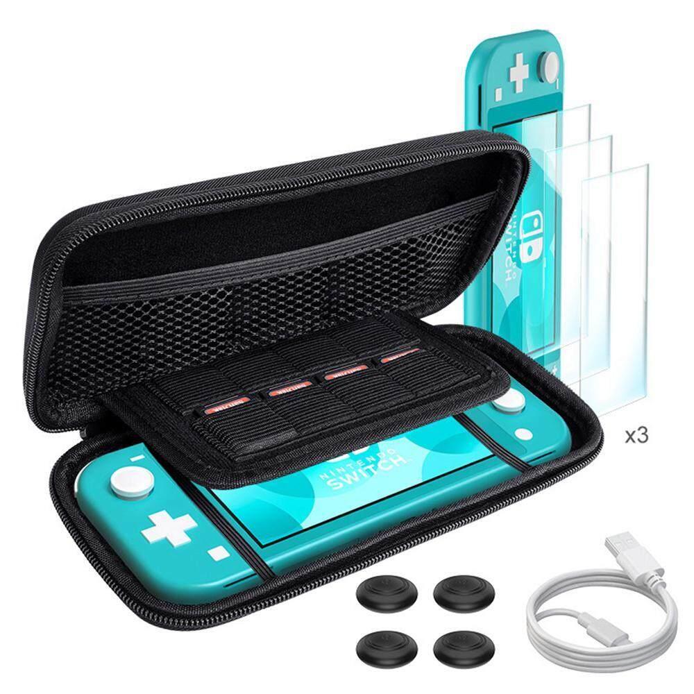 OnLook Phụ Kiện Bộ Dụng Cụ cho Nintendo Switch Lite 9 trong 1, bao gồm Vỏ Bảo Vệ Mang Đi, TPU Bảo Vệ Mặt Sau và 3 Cường Lực Màn Hình Bảo Vệ, 4 pcsThumb Grips Caps
