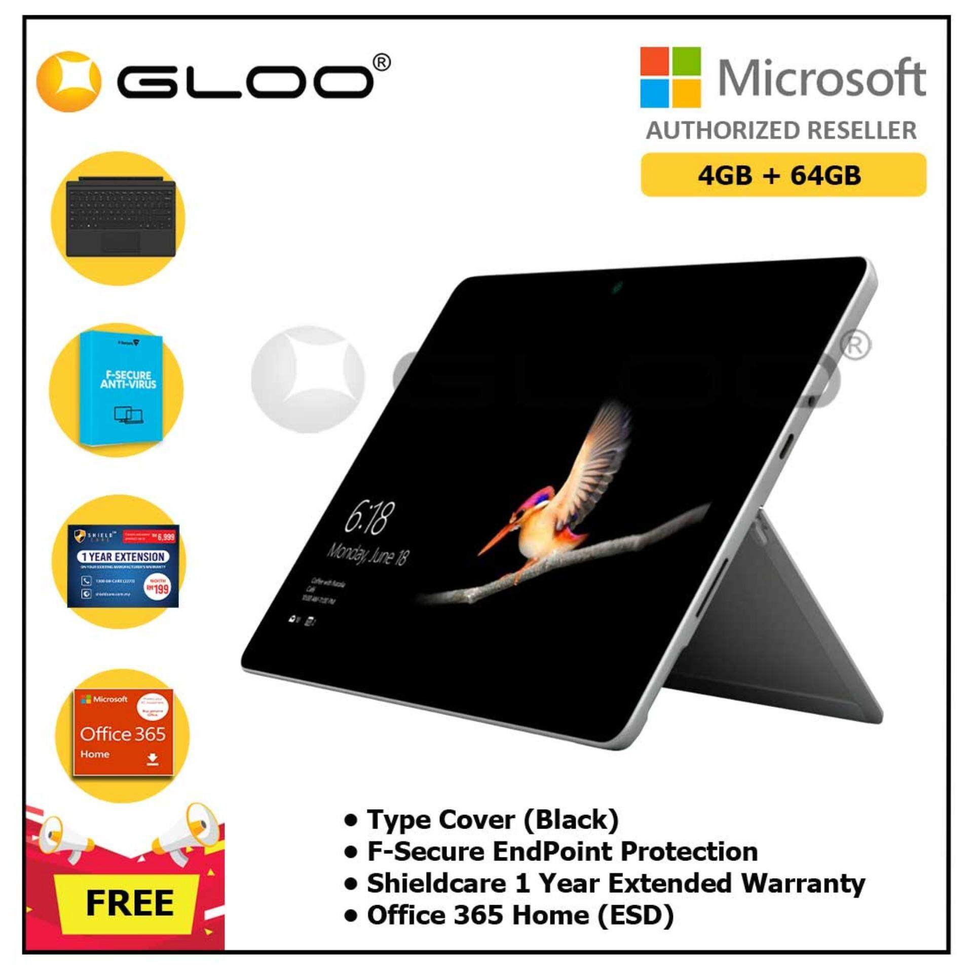 Surface Go Y/4GB 64GB + Surface Go Type Cover Black + Shieldcare 1 Year Extended Warranty + F-Secure EndPoint Protection + Office 365 Home ESD